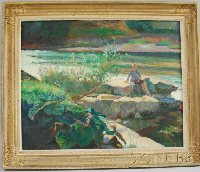 Karl Dick (Swiss, 1884-1967)      Figure Seated on Rocks at the Shore.