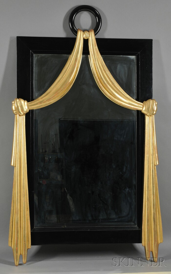 Art Deco-style Ebonized and Parcel-gilt Mirror