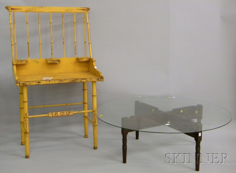 Yellow-painted and Decorated Wooden Washstand with Bamboo Turnings and a Glass-top Coffee Table with Crossed Turned Wood Base.