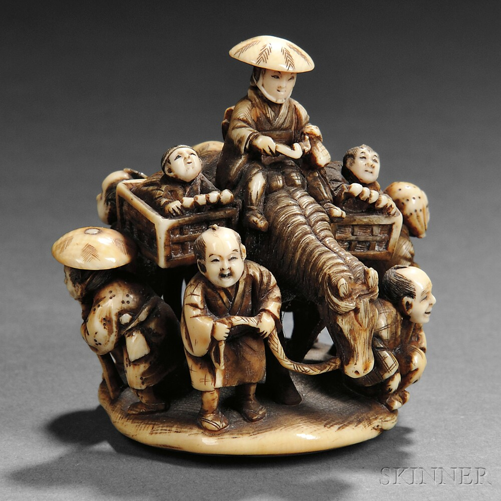 Ivory Netsuke of a Man on a Horse