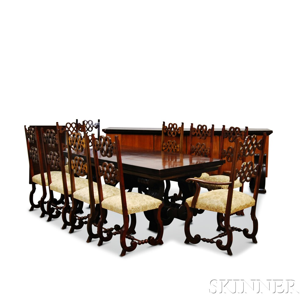 Dutch Revival Rosewood Dining Table Chairs And Server