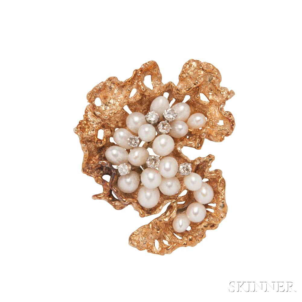 14kt Gold, Cultured Pearl, and Diamond Brooch