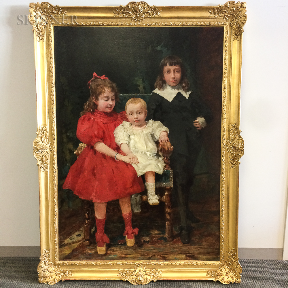 Alfred Jacomin (French, 1842-1913)      Portrait of Three Children