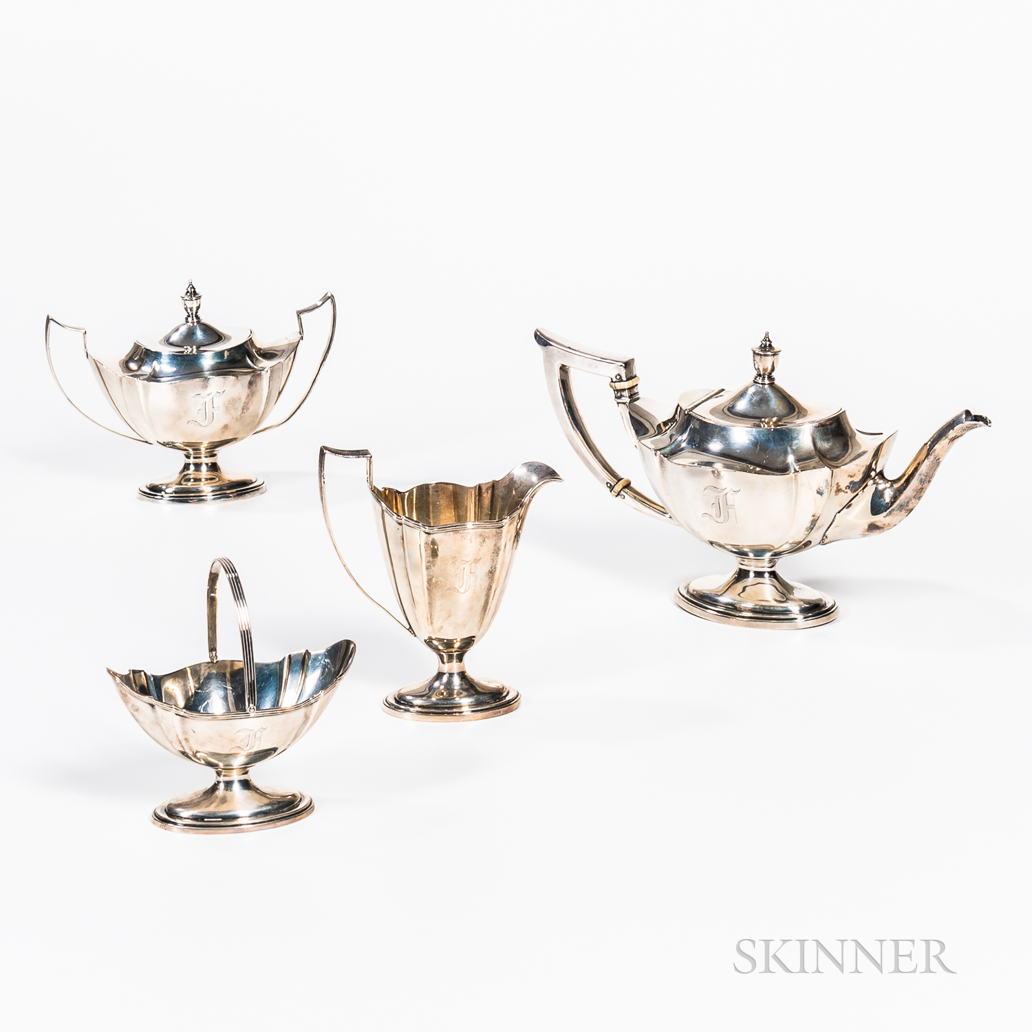"""Gorham """"Plymouth"""" Four-piece Sterling Silver Tea Set"""