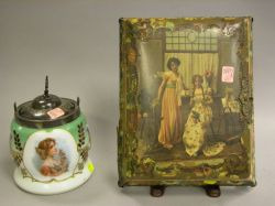 Art Nouveau Lithograph Decorated Musical Jewel Box and an Art Nouveau Silver Plate Mounted Enamel Decorated Glass Biscuit Jar.