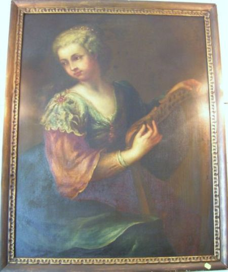 Framed Continental School Oil on Canvas Portrait of a Lady with a Harp