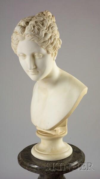 Italian Carved Carrara Marble Bust of Classical Goddess