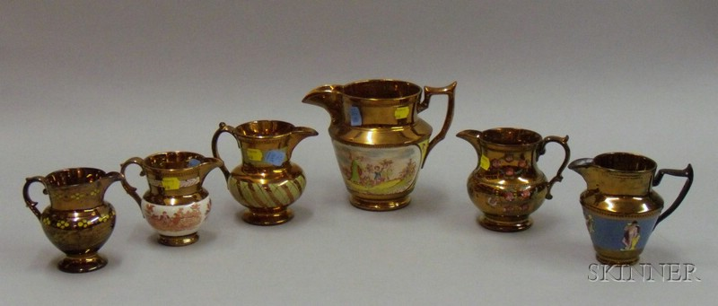 Six Copper Lustre Items