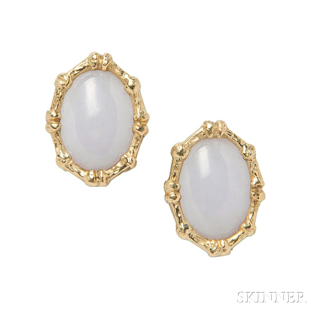 18kt Gold and White Jade Earclips, Christopher Walling