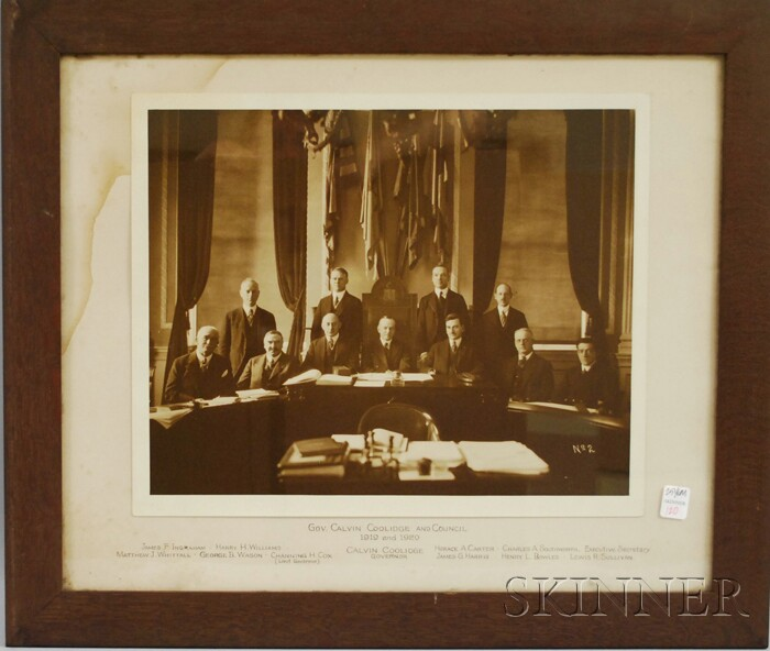 Framed Photograph of Massachusetts Governor Calvin Coolidge and Council