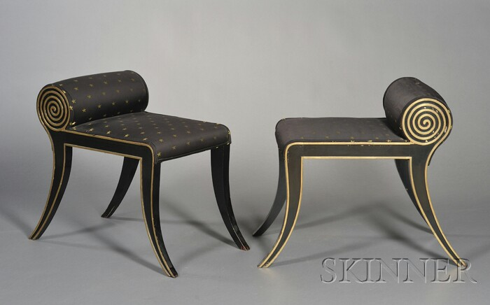 Pair of Regency-style Carved, Parcel-gilt, and Ebonized Stools