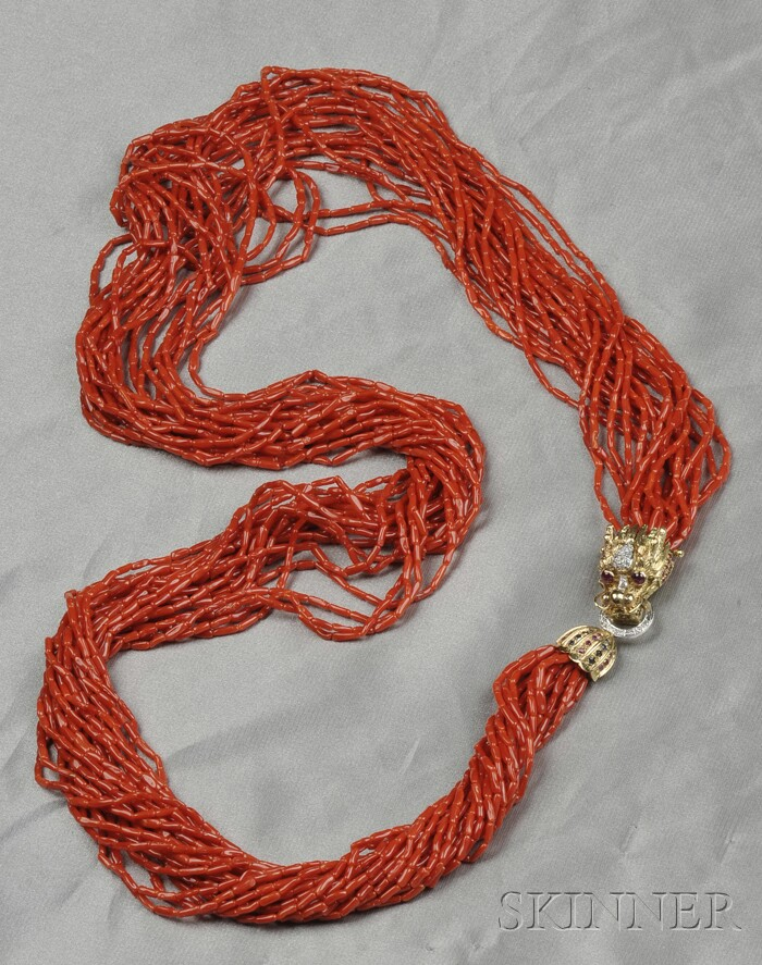 Multi-strand Coral Bead and Gem-set Necklace