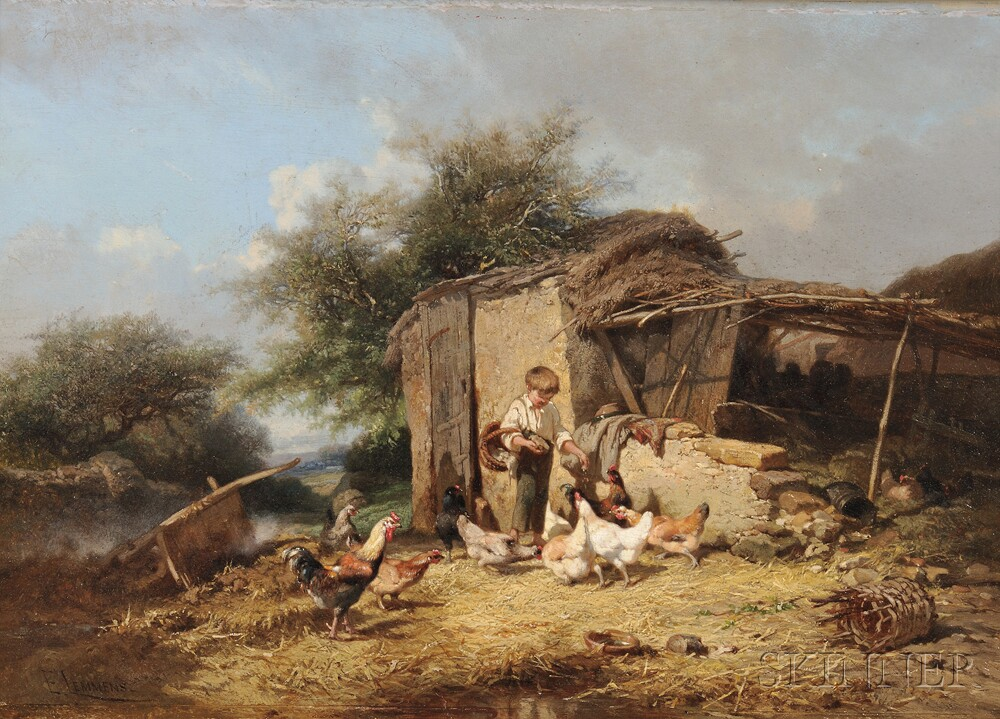 Theophile Victor Emile Lemmens (French, 1821-1867)      Feeding the Chickens
