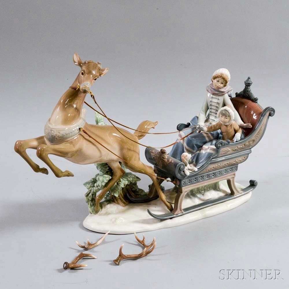"Large Lladro Ceramic Figural Group ""Winter Wonderland,"""