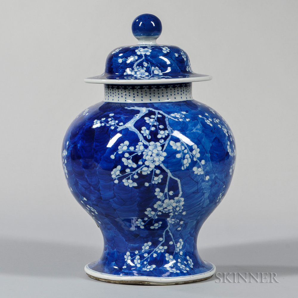 Blue and White Covered Hawthorne Jar