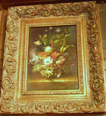 Framed Dutch-style Oil on Panel Floral Still Life