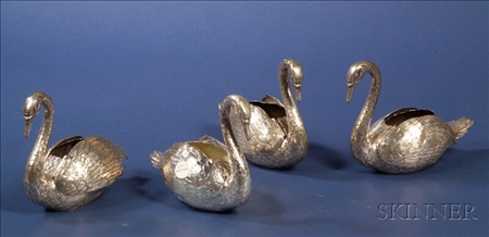 Four Continental Silver Swan-form Table Ornaments