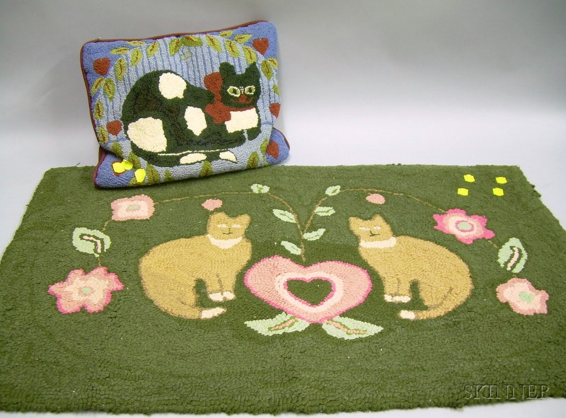 Hooked Cats with Heart and Flowers Pattern Rug and a Hooked Cat Pattern Pillow.