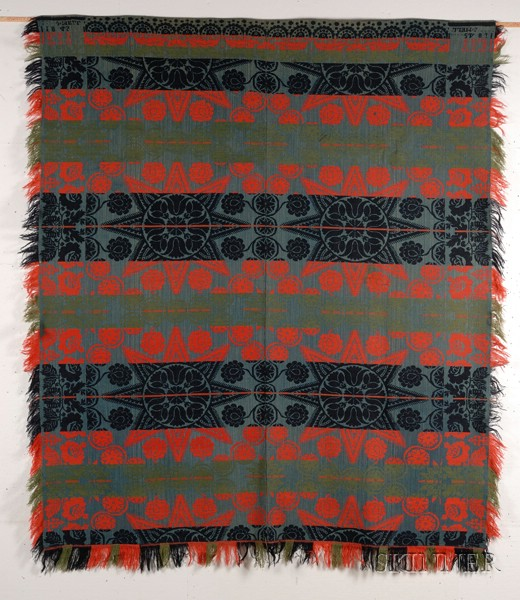 Woven Wool and Cotton Four-color Beiderwand Weave Coverlet