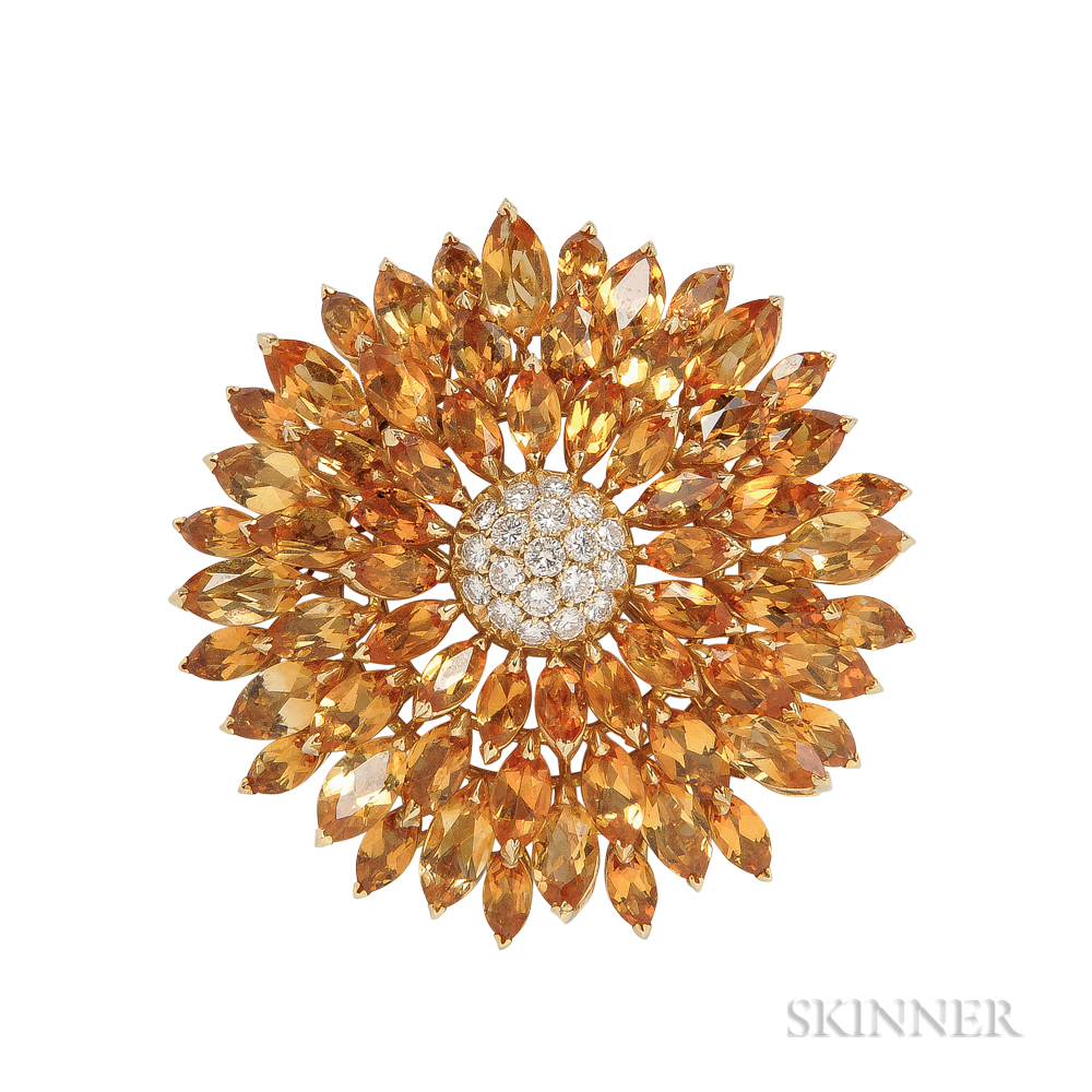 18kt Gold, Citrine, and Diamond Flower Brooch, Asprey