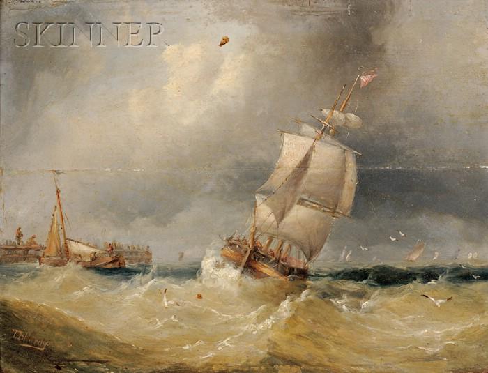 Thomas Bush Hardy  (British, 1842-1897)      Shipping off a Pier