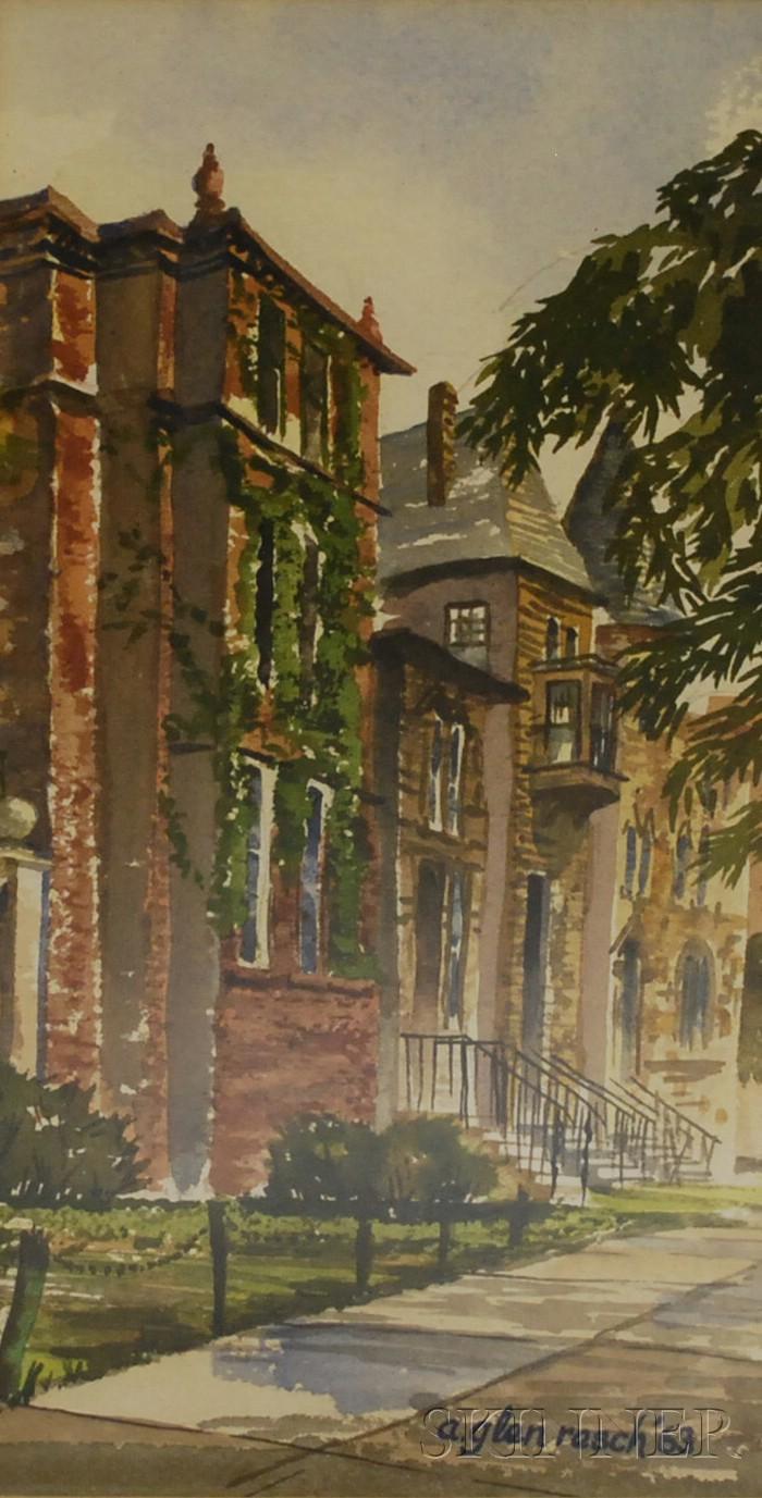 Lot of Eight Framed American School Watercolors of Regional Views.      Paul Gregg (American, 1876-1949), Wagon Train in Snow