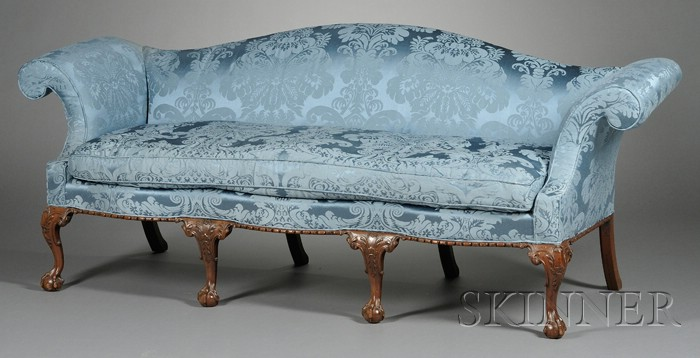 Chippendale-style Carved Mahogany and Blue Silk Upholstered Camel-back Sofa