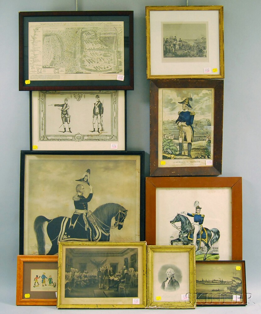 Ten Framed Mostly American Historical Prints