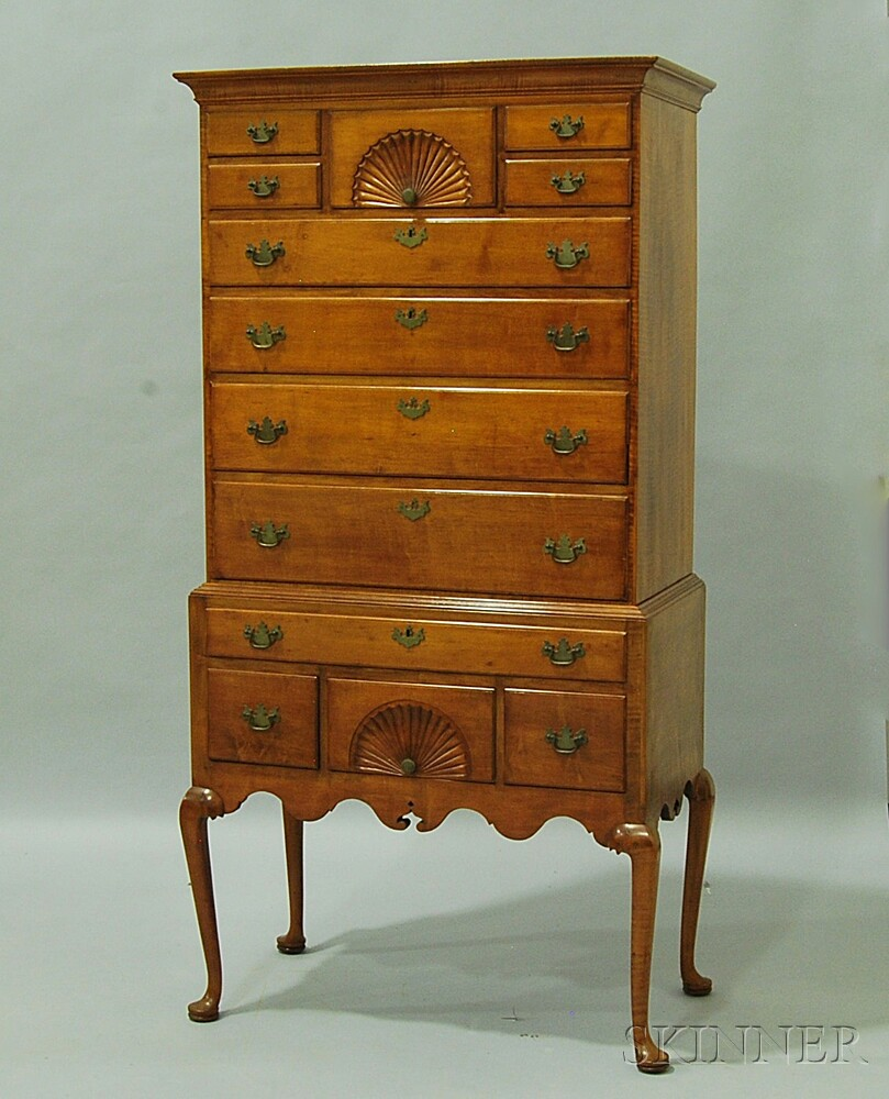 Queen Anne Tiger Maple Flat-top High Chest