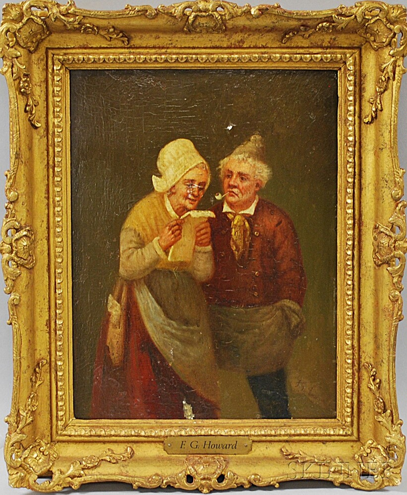 Two Works:      Continental School, 19th Century, Peasant Couple Sharing a Letter