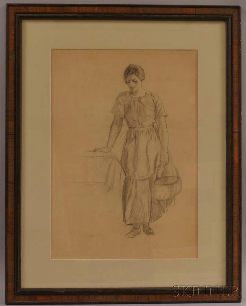 Myron G. Barlow (American, 1873-1937)      Standing Woman with a Basket.