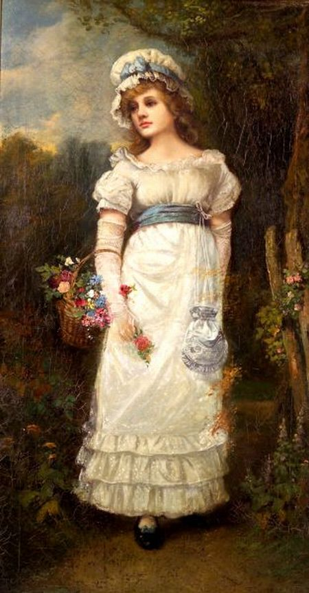 Attributed to James George McLellan Arnott (British, 19th Century)    Girl in White with Flowers