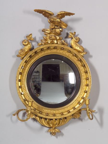 Small Gilt Gesso and Carved Wood Girandole Mirror