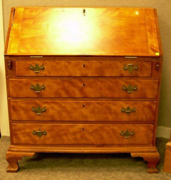 Chippendale Cherry Slant-lid Desk.