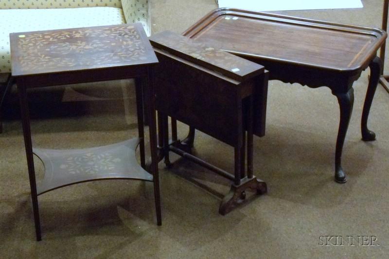 Three Marquetry Decorated Mahogany Tables