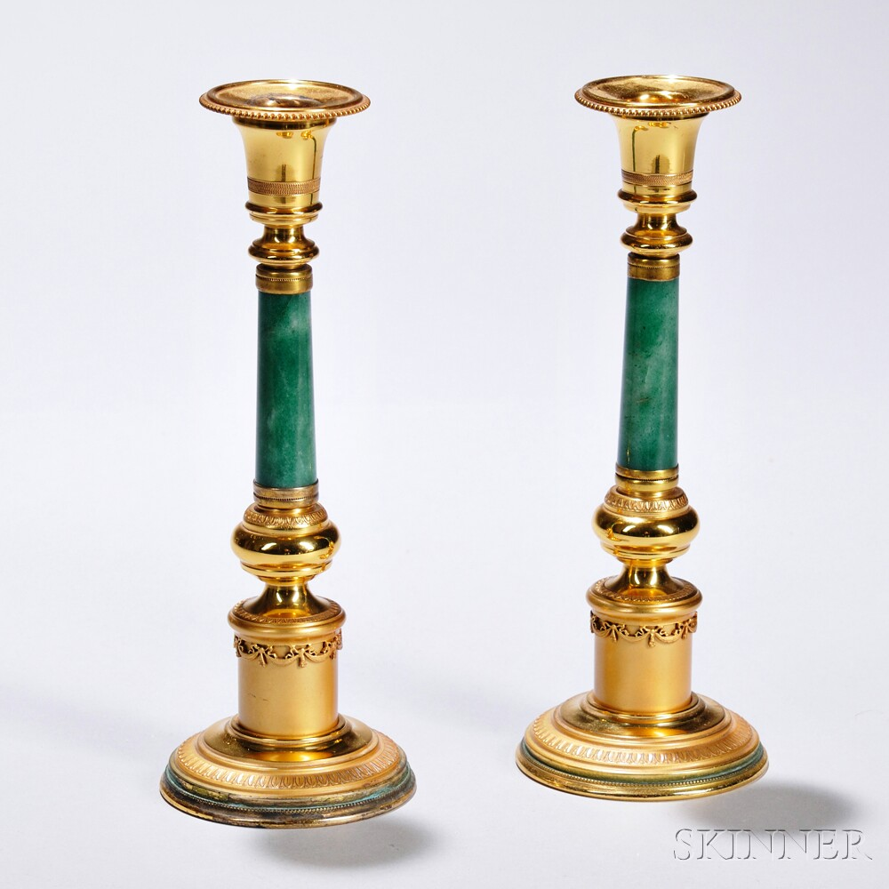 Pair of Brass, Gilded Silver, and Jadeite Candlesticks