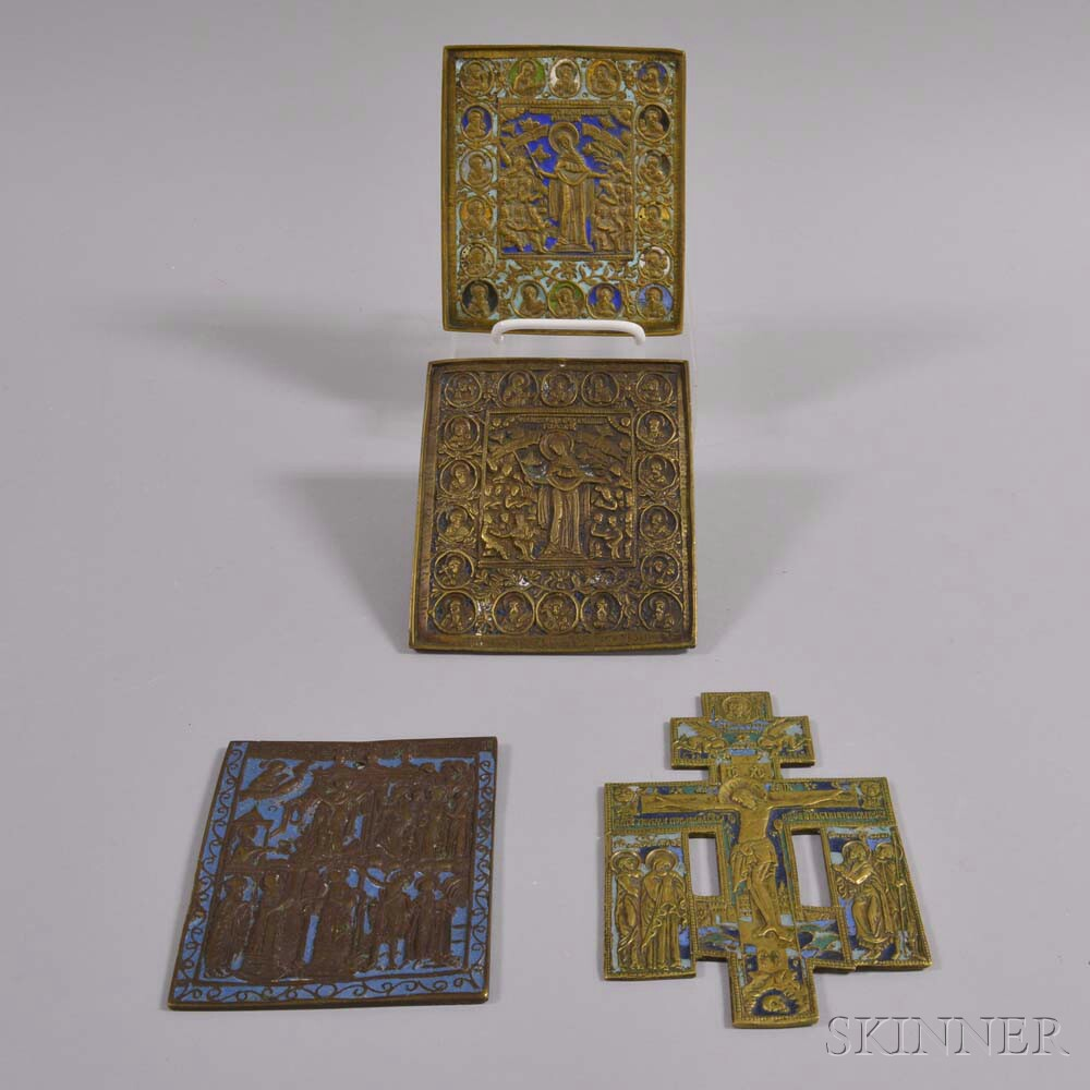Four Small Enameled Brass Icons