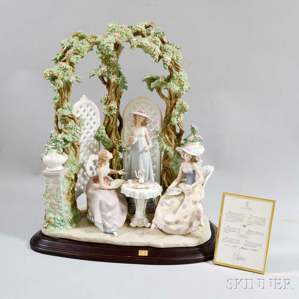 "Large Lladro Ceramic Figural Group ""Tea Time in the Garden,"""