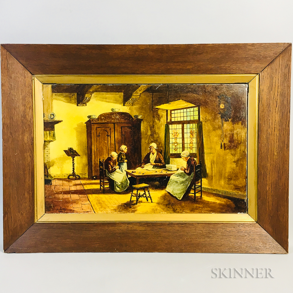 Framed Painted Genre Scene Porcelain Plaque