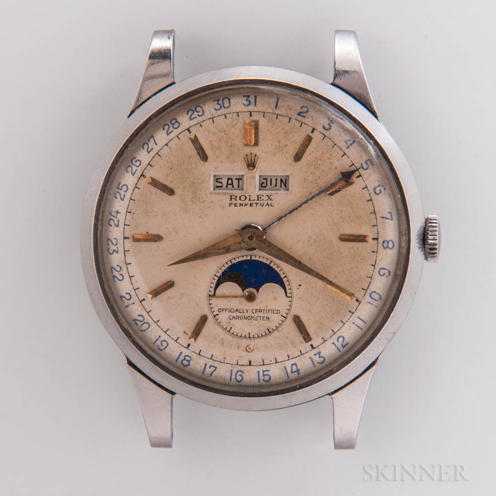 """Rare Rolex Stainless Steel Reference 8171 """"Padellone"""" Triple Calendar Wristwatch"""
