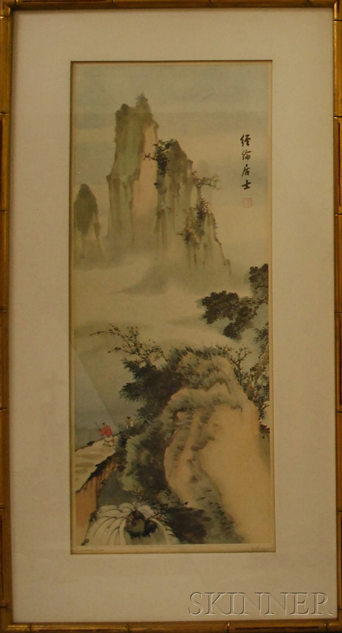 Lot of Five Framed Asian Themed Works.