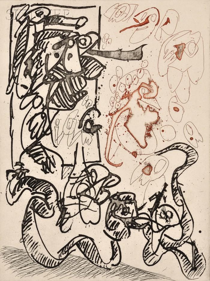 Pierre Alechinsky (Belgian, b. 1927)      Serpent de terre