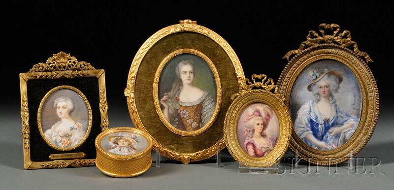 Five Portrait Miniatures of Ladies