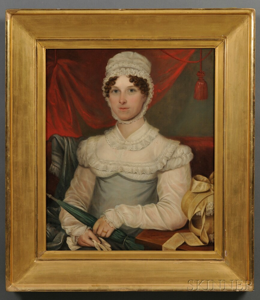 American School, 19th Century      Portrait of a Young Woman in a White Gown Holding Her Parasol.