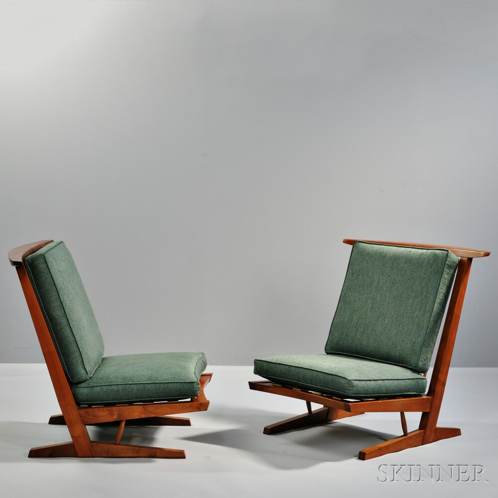 Two George Nakashima (1905-1990) Conoid Lounge Chairs