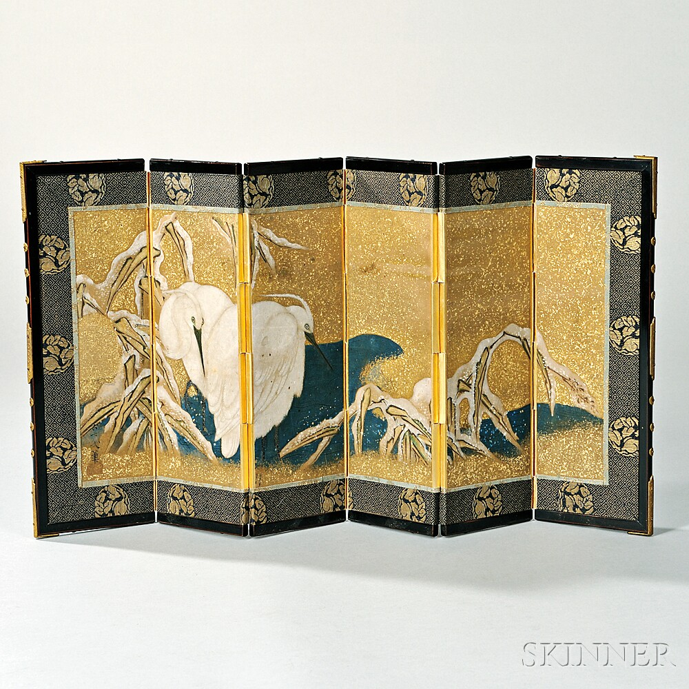Miniature Painted Six-panel Screen