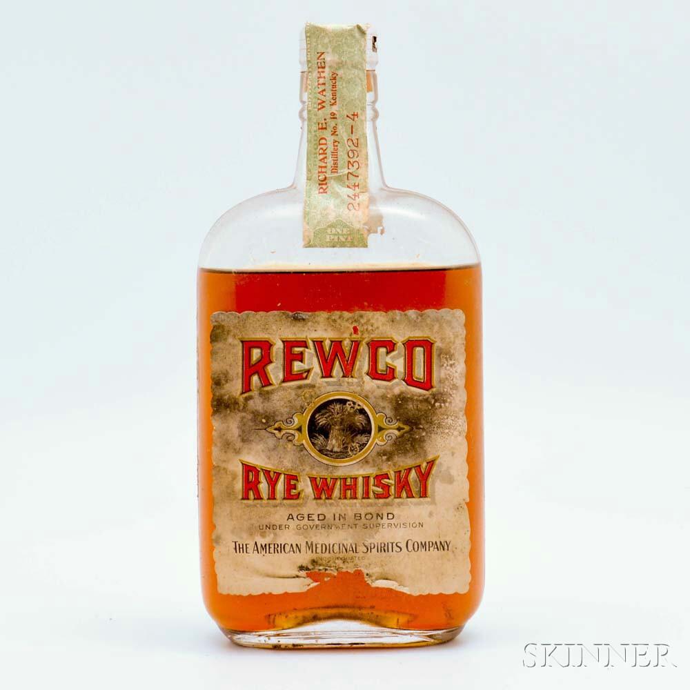 Rewco Rye Whiskey 15 Years Old 1917, 4 pint bottles (oc)