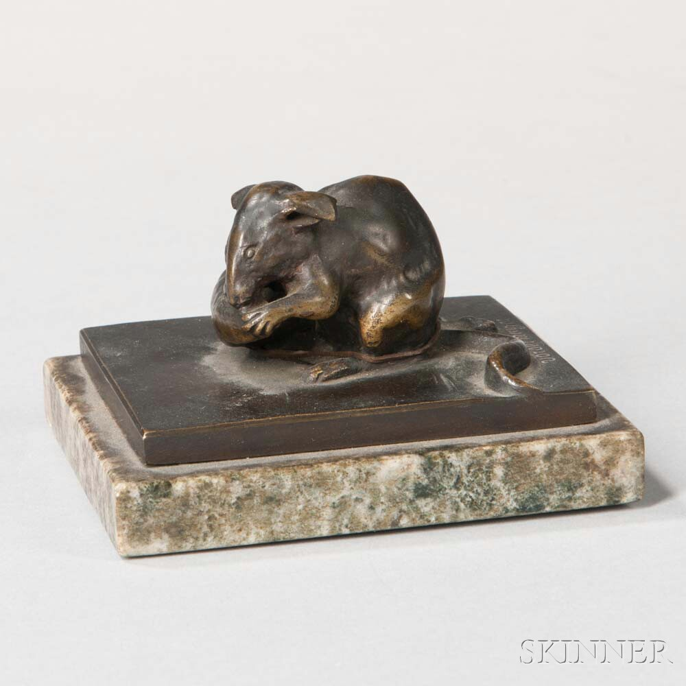 After Ludwig Vordermayer (act. Germany, 1868-1933)       Bronze Figure of a Mouse Eating a Carrot