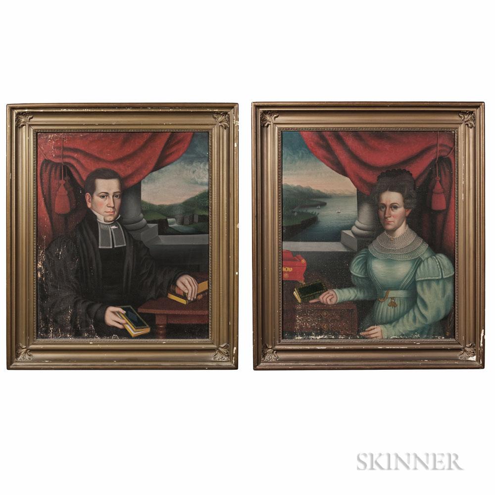 Attributed to Erastus Salisbury Field (Massachusetts/New York, c. 1805-1900), Pair of Portraits of the Reverend George Champlin Shepard