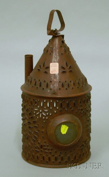 Red-painted Pierced Tin and Glass Lantern